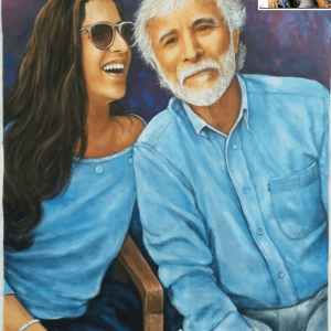 Handmade Oil Painting by SmileMiddle embracing a father-daughter bond